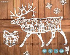 Reindeer Deer svg Papercut Template Christmas Deer winter