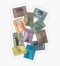 City Postage Stamps Sticker