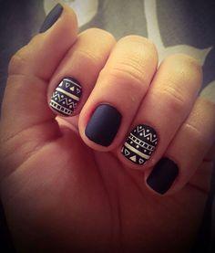 Black Matte Aztec Nails