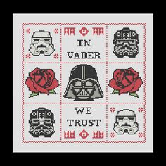 In Vader We Trust - Darth Vader Inspired Cross Stitch Pattern  £2.50 from Pyro Dog Pins on Folksy
