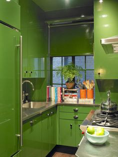 Lacquer apple green kitchen by Miles Redd.