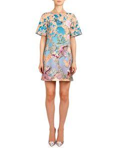 Short-Sleeve Discosoma Gaynor Shift Dress, Orange/Blue by Mary Katrantzou at Neiman Marcus.