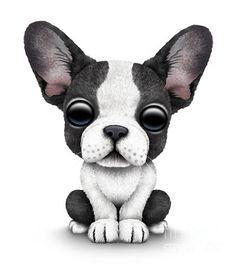 jeff bartel art   Cute French Bulldog Puppy Print by Jeff Bartels