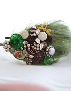 Feather headband Dragon fly In Wonderland headband  By sheena holland