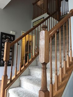 Timeless and Treasured - My Three Girls: DIY - How To Stain and Paint Oak Stair Banisters Painted Stair Railings, Black Stair Railing, Staircase Railings, Painted Stairs, Banisters, Staircase Design, Banister Ideas, Staircase Ideas, Railing Design