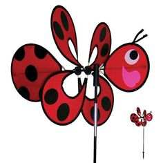 Lady Momma Bug Windee Wheelz come with an 18.5 inch assembled Windee Wheel, a 35 inch 3-section fiberglass pole and 7 inch ground stake. Windee Wheelz are made with weather resistant polyester fabric and silk screened graphics. They also feature a pivoting pole to keep them facing the wind. Momma Windee Wheelz are easy to assemble and are sure to please! #windspinner #windspinners #gardendecor #yarddecor