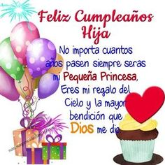 imagenes-de-cumpleanos-a-mi-hija-mi-princesa Happy Birthday Celebration, Happy Birthday Wishes, Birthday Greetings, Birthday Wishes In Spanish, Happy Birthdays, Birthday Messages, Birthday Quotes, Happy Birthday Daughter, Happy Birthday Pictures