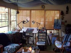 Take a peek inside the creative spaces in this photo gallery of artists' studios and painting spaces.