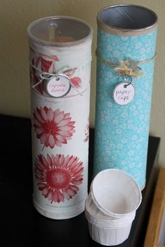 Paper cup, cupcake liners, craft supplies - using Pringles cans - Click image to find more hot Pinterest pins