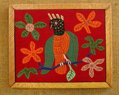 Vintage Framed Mola Bird Textile Hand Sewn Reverse Applique Thunderbird Central American Indian 14 x 12 Picture Wood Burlap Frame Needlework