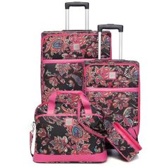 New Directions Black Multi Paisley Jet Set 4-Piece Luggage Set - Black... ($128) ❤ liked on Polyvore featuring bags, luggage and black multi paisley