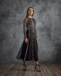 The Autumn 2018 Wild Life Dress by Alice Temperley is adorned with hand applied bugle beads, mirrored perspex and crystals