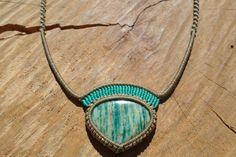 amazonite necklace,macrame necklace,macrame pendant,amazonite jewelry,aqua green color,gemstone necklace,macrame jewelry,adjustable necklace by ARTEAMANOetsy on Etsy