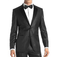Classic Black 3 Piece Two Button Dress Wedding Prom Business Suits Men SKU-123113