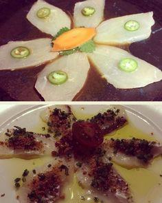 Arriba: Yellowtail Sashimi con Jalapeño.  5/5.  Soya con yuzu cilantro y ajo.  28 USD. Este plato aunque literalmente es un bocado es absolutamente perfecto. El yuzu es una fruta cítrica que crece en Asia Oriental y parece como una naranja pequeña y tiene u sabor muy parecido al pomelo o a la toronja. Como ya lo he dicho no soy muy amiga del picante tan picante pero es necesario comerse la lonja del pescado con el pedacito de jalapeño que no es muy picante le da sabor y recoge todos los…