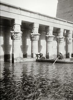 Temple of Isis, photo dating in Philae Island, Egypt. Damage to the temple from the waters of the Nile along with the impending construction of the High Dam led to the dismantling and reconstruction of the temples on the nearby island of. Old Egypt, Egypt Art, Cairo Egypt, Ancient Ruins, Ancient History, Old Pictures, Old Photos, Ancient Egyptian Architecture, Site Archéologique