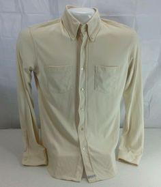 Vintage Ted Baker of London  LS Button Down Nylon Shirt. Cream Color. Size 3 #TedBaker #ButtonFront