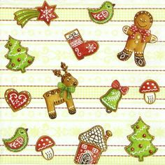 4 Single Paper Napkins Lunch Party For Decoupage Decopatch Craft Gingerbread