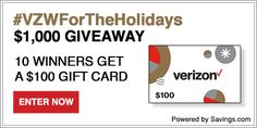 Enter to Win a $100 Visa Gift Card from Verizon! (ends 12/21) #VZWForTheHolidays