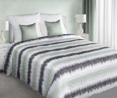 Dwustronne białe narzuty i kapy na łóżko w grafitowo szare paski