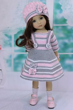 Outfit for doll 13 Deanna Effner Little Darling Knitting Dolls Clothes, Baby Doll Clothes, Crochet Doll Clothes, Knitted Dolls, Doll Clothes Patterns, Barbie Clothes, Baby Born Kleidung, Baby Pullover, American Doll Clothes