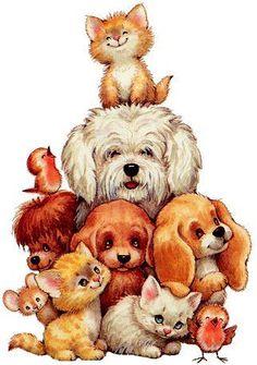 Photo by KittyPurrington Cute Baby Animals, Funny Animals, Animal Pictures, Cute Pictures, Illustration Mignonne, Cute Animal Illustration, Amazing Drawings, Cat Art, Animal Drawings