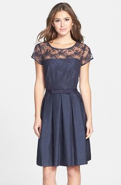 Taylor Dresses Illusion Yoke Shantung Fit & Flare Dress - dress for pear bodyshape #pearbody
