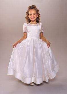 5d0a50c28e02 Buy 2013 Outlet Newest Lovely Short Sleeves Applique A-line Long First  Communion Dress Online · Pretty Flower Girl ...