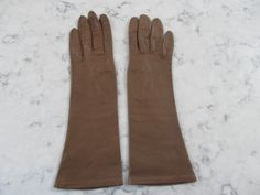 """VINTAGE 1950's Unworn? GRANDOE Italian Made Silk Lined Brown Leather Elbow Length Gloves---12"""" long---Size 7---Glove Auction #1267 by PrimaMona on Etsy"""