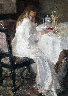 Jean Theodoor Toorop (1858 – 1928). Dame en blanche (Annie Hall)  1886  Oil on canvas  100 x 73 cm
