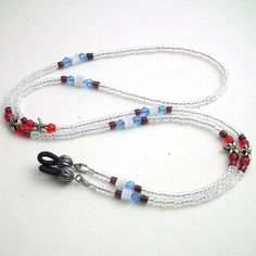 Beaded Eyeglass Chain - Antiqued Silver Dragonflies, Red Glass, Garnet, Blue Glass and Clear Seedbeads Beaded Jewelry, Beaded Bracelets, Purse Hook, Beaded Lanyards, Eyeglass Holder, Leather Chain, Red Glass, Antique Silver, Eyeglasses