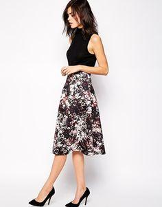 Warehouse Siren Floral Printed Midi Skirt