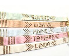 Design your own photo charms compatible with your pandora bracelets. Name bracelet - friendship bracelet, beadloom bracelet, beaded bracelet, miyuki bracelet, personalised bracelet Loom Bracelet Patterns, Bead Loom Bracelets, Beaded Jewelry Patterns, Bead Loom Patterns, Beading Patterns, Pandora Bracelets, Bead Loom Designs, Letter Patterns, Bead Crochet