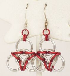 SALE Aluminum Inverted Aura Chainmaille Earrings by TsTreasures, £4.88