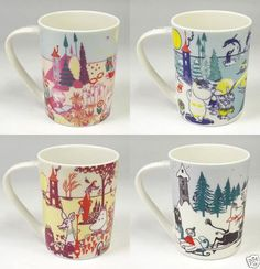 Moomin Mug Four Seasons set Yamaka Japan Finland Moomintroll Coffee Tea Cup Moomin Mugs, Four Seasons, Finland, Japan, Coffee, Tea Cup, Tableware, Kaffee, Dinnerware