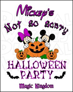 Mickey's not so scary Halloween party Digital Iron on transfer clip art INSTANT DOWNLOAD DIY for Shirt