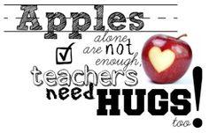 Teachers need hugs, too! Gift Tag Printable