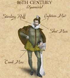 """Nobleman's ensemble, Spanish, 1533-1566. The capitans of the Spanish treasure fleet wore something similar to this, as did John Hawkins, Sir Francis Drake, and the other privateers who preyed on them. Trunk hose (also known as """"slops"""") were worn during most of the 16th century and the first quarter of the 17th."""