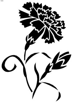 T t Carnation flower Quilling Patterns, Stencil Patterns, Stencil Designs, Print Patterns, Stencils, Stencil Painting, Rock Flowers, Intarsia Woodworking, Silhouette Art