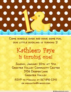Polka dots with a fun rubber duckie start some waddling fun on this party invitation.