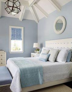 Light Gray Bedroom, Grey Bedroom With Pop Of Color, Blue Bedroom Walls, Grey Bedroom Decor, Romantic Bedroom Decor, Light Blue Walls, Bedroom Wall Designs, Bedroom Colors, Bedroom Furniture