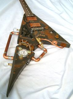 This extraordinary guitar, dubbed 'The Villainizer' by manufacturers Thunder Eagle, was inspired by the 'steampunk' movement, which allies Victorian technology to science-fiction. It contains piping, cogs and gears in place of the usual, modern guitar-making materials.