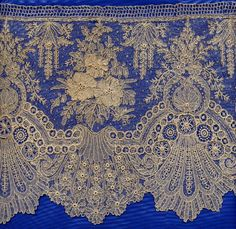 Brussels Lace Very delicate elaborate lace, often lots of raised work like what you see in the centers of the flowers. You don't see this much on modern gowns--it is very old fashioned. This original pinner really knows lace! Needle Lace, Bobbin Lace, Lace Ribbon, Lace Fabric, Antique Lace, Vintage Lace, Types Of Lace, Lacemaking, Linens And Lace