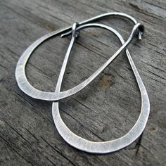 Gunnysack Hoops oxidized stelring silver oblong by LisasLovlies, $26.50