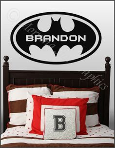 """Kids Room BATMAN (Personalized with Name) Large Vinyl Wall Art Decal 38"""" x 22"""" on Etsy"""