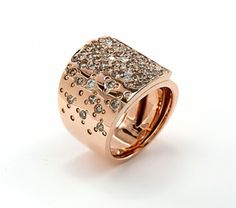 White and brown diamond ring set in rose gold. Pink Diamond designs. LQ13300L. Available at Murphey the Jeweler.
