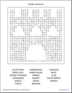 "Word Search: Castles and Armor (elementary) - Featuring vocabulary from Mary Pope Osborne's Magic Tree House book ""The Knight at Dawn"" (this castle-shaped word search can be used without the book)."