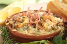 Hvitløksgratinert spekeskinke og reker Prawn, Shrimp, Scampi, Prosciutto, Tapas, Mashed Potatoes, Cabbage, Garlic, Appetizers