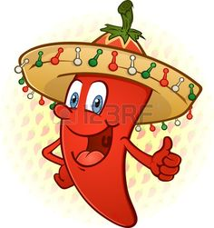 Sombrero Hot Chili Pepper Thumbs Up personaje de dibujos animados Foto de archivo