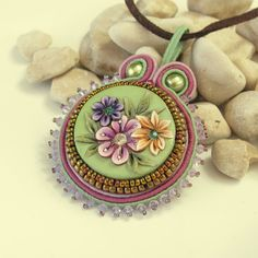 Bead embroidered Soutach  floral Polymer clay  Pendant